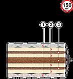 Матрас двуспальный Пармезан (Велам) 160х190х24см беспружинныйкокос 3 слоя+латекс 4 слоя з/л до 150кг , фото 2