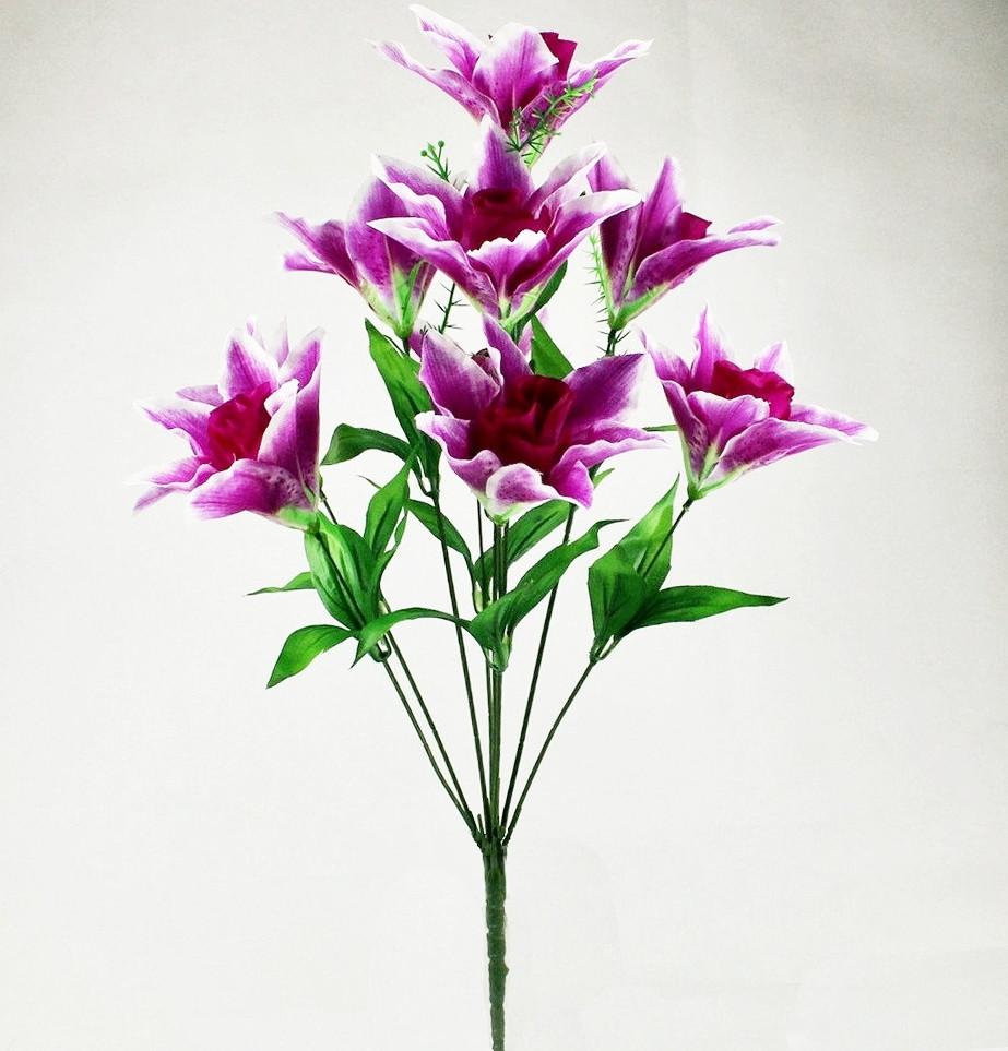 Букет роза в лилии, азиатская лилия 60 см. (10 шт. в уп)