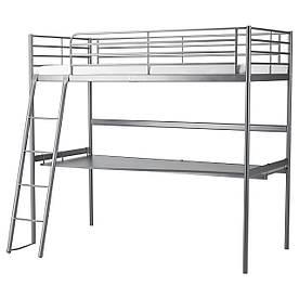 IKEA SVARTA (591.512.71) Кровать-чердак, серебристый