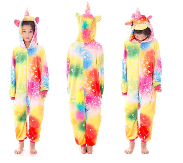 Кигуруми пижама детская единорог желтый звезды 130 см