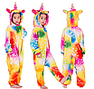 Кигуруми пижама детская единорог желтый звезды 130 см, фото 3