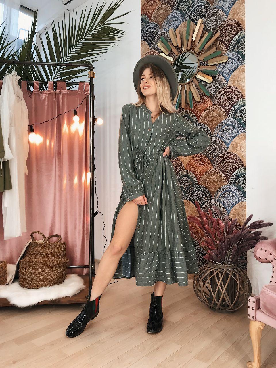 Женское теплое платье в полоску, размеры SM, ML