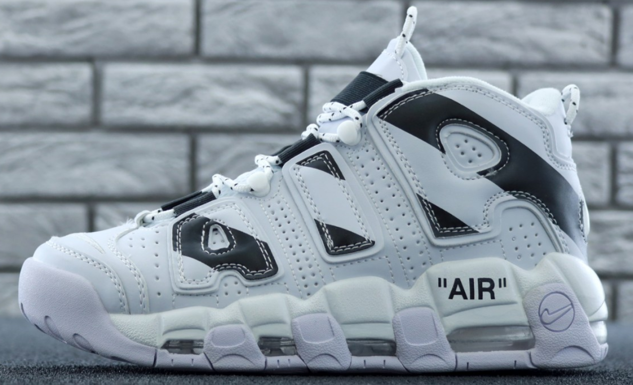 Мужские Кроссовки Nike Air More Uptempo White/Black, Найк аир мор белые