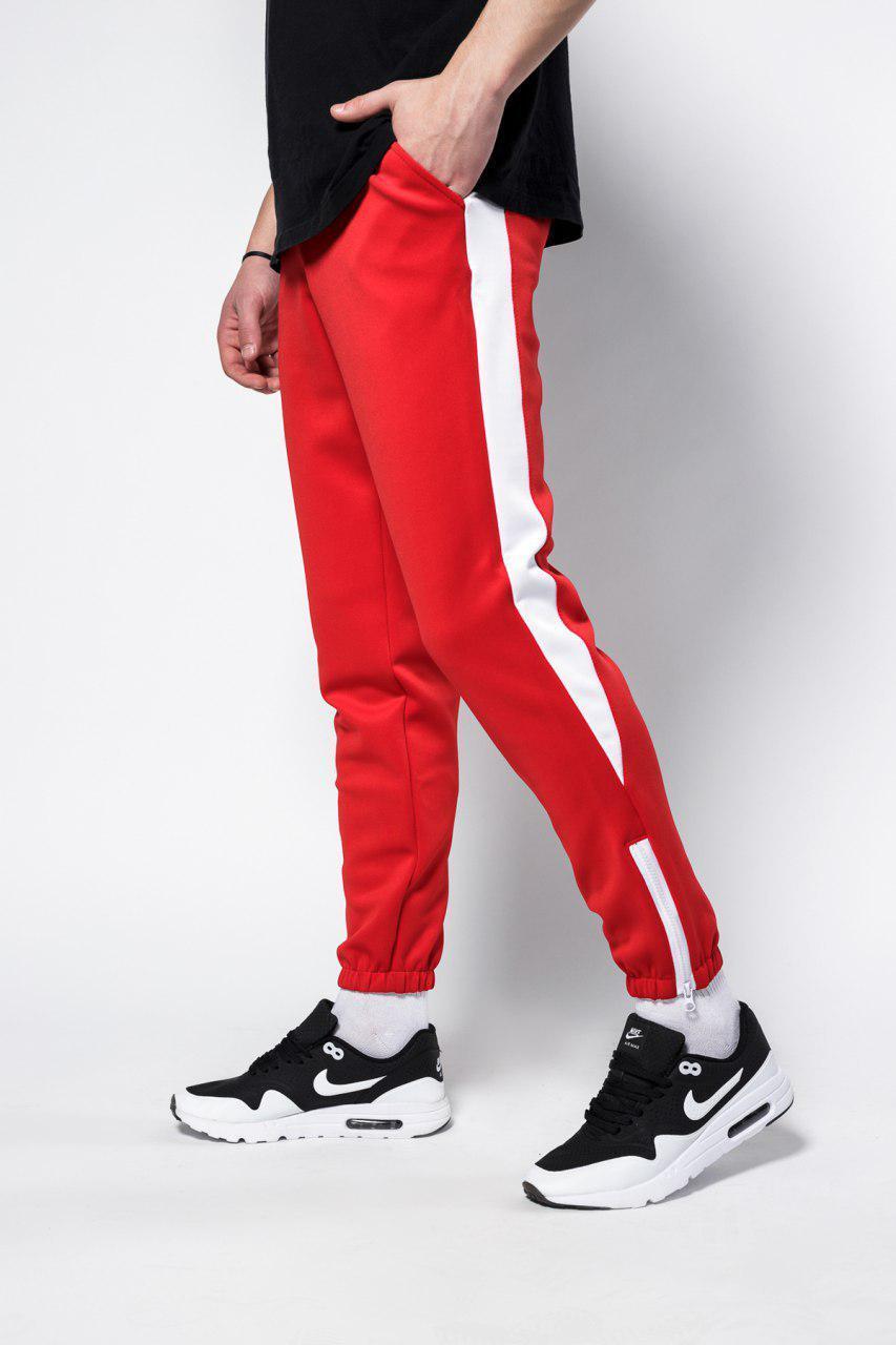 Штаны спортивные Rocky (Рокки) красные с белой вставкой