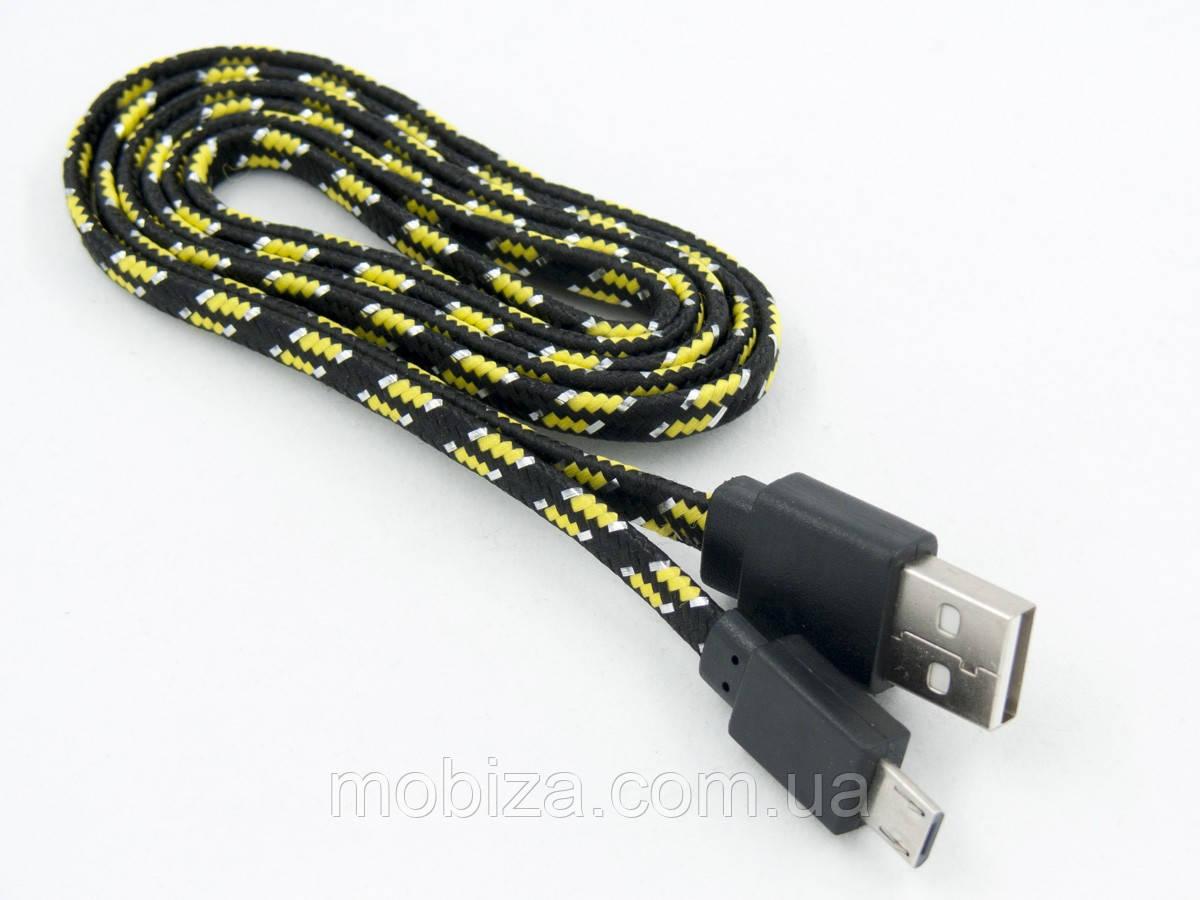 Кабель DENGOS заряду та синхронізації USB 2.0, micro-USB (плаский, чорний)(NTK-M-DPR-MTPLSK-BLACK)