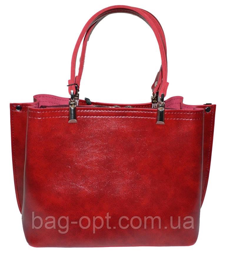 Женская бордовая сумка (21*27*13)