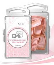 Розовые тренировочные типсы для дизайна ногтей E.Mi