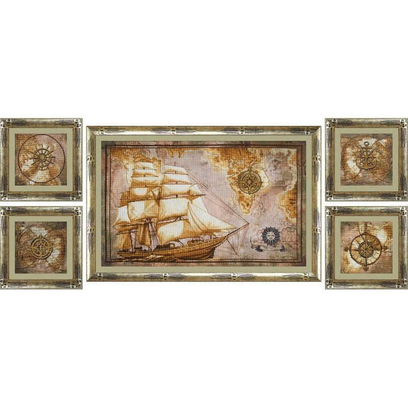 """Набор для вышивки нитками на канве с фоновым изображением """"Морское путешествие"""""""