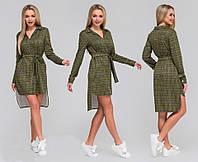 af99d7c1ebf Женское модное платье - рубашка в клетку с поясом