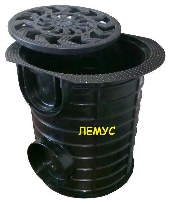 Комплект: Дождеприемник-пескоуловитель круглый пластиковый с пластиковой решеткой