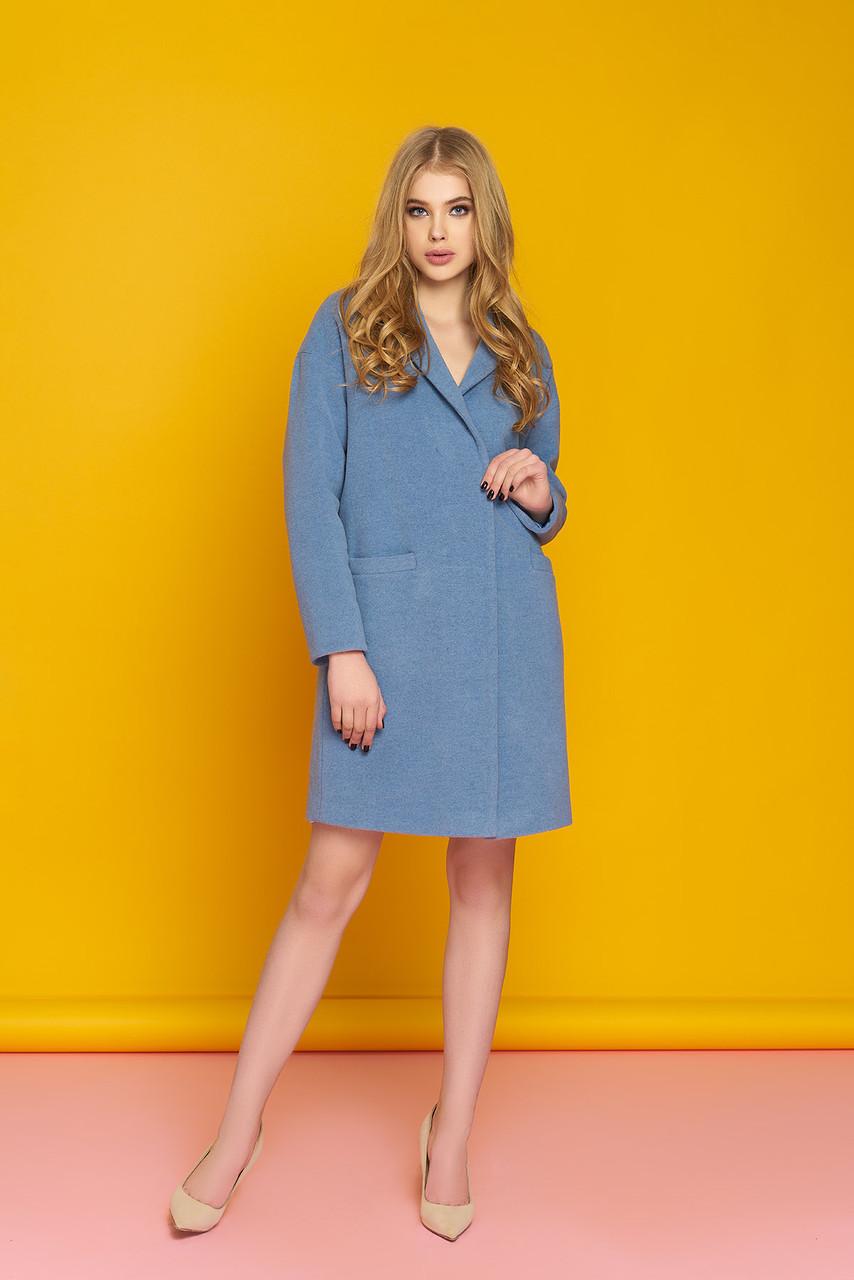 Женское демисезонное пальто из кашемира голубое OVERSIZE