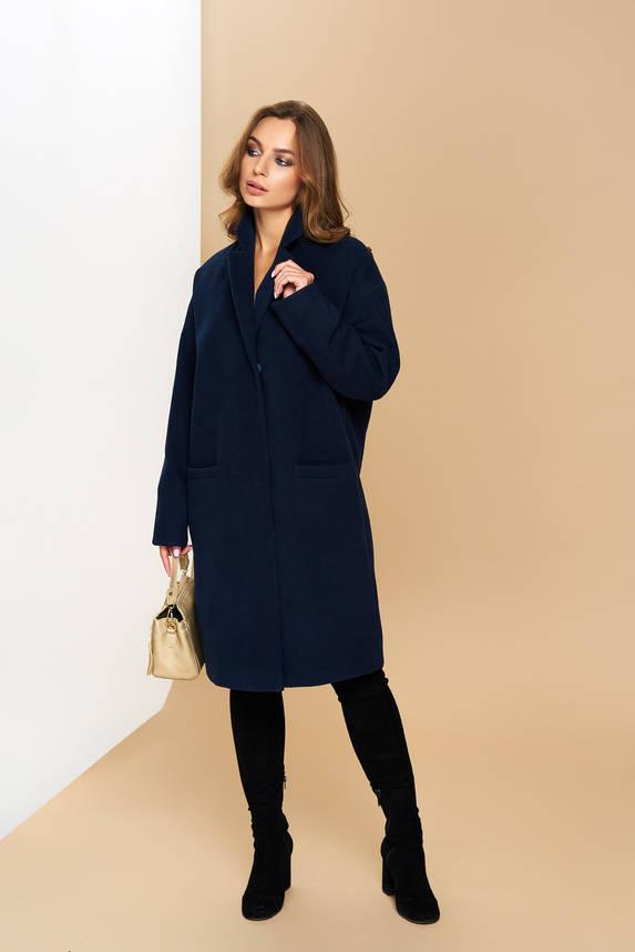 Женское демисезонное кашемировое пальто синее OVERSIZE, фото 2