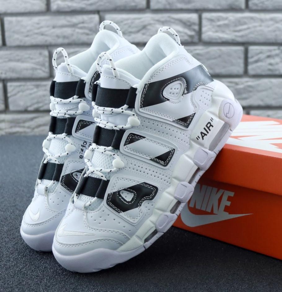 Мужские кроссовки Nike Air More Uptempo Off White 2018 White/Black. Живое фото (Реплика ААА+)