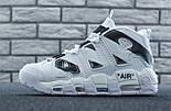 Мужские кроссовки Nike Air More Uptempo Off White 2018 White/Black. Живое фото (Реплика ААА+), фото 4