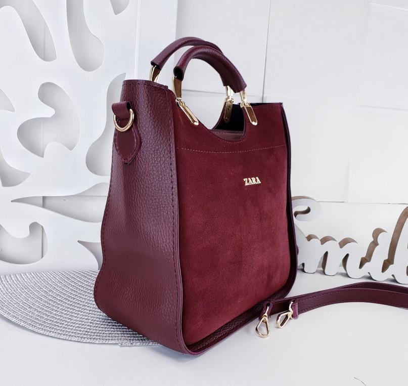 2d57a3afc6f7 Бордовая замшевая женская сумка Zara ( цвет марсала ), цена 520 грн.,  купить в Киеве — Prom.ua (ID#881230523)