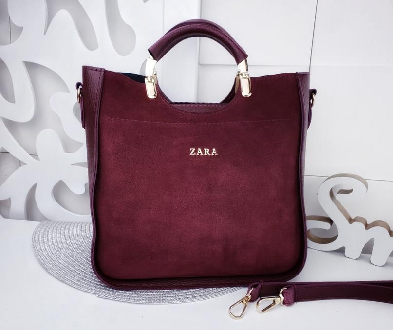 583c6f0c5532 Бордовая замшевая женская сумка Zara ( цвет марсала ) - Интернет-магазин