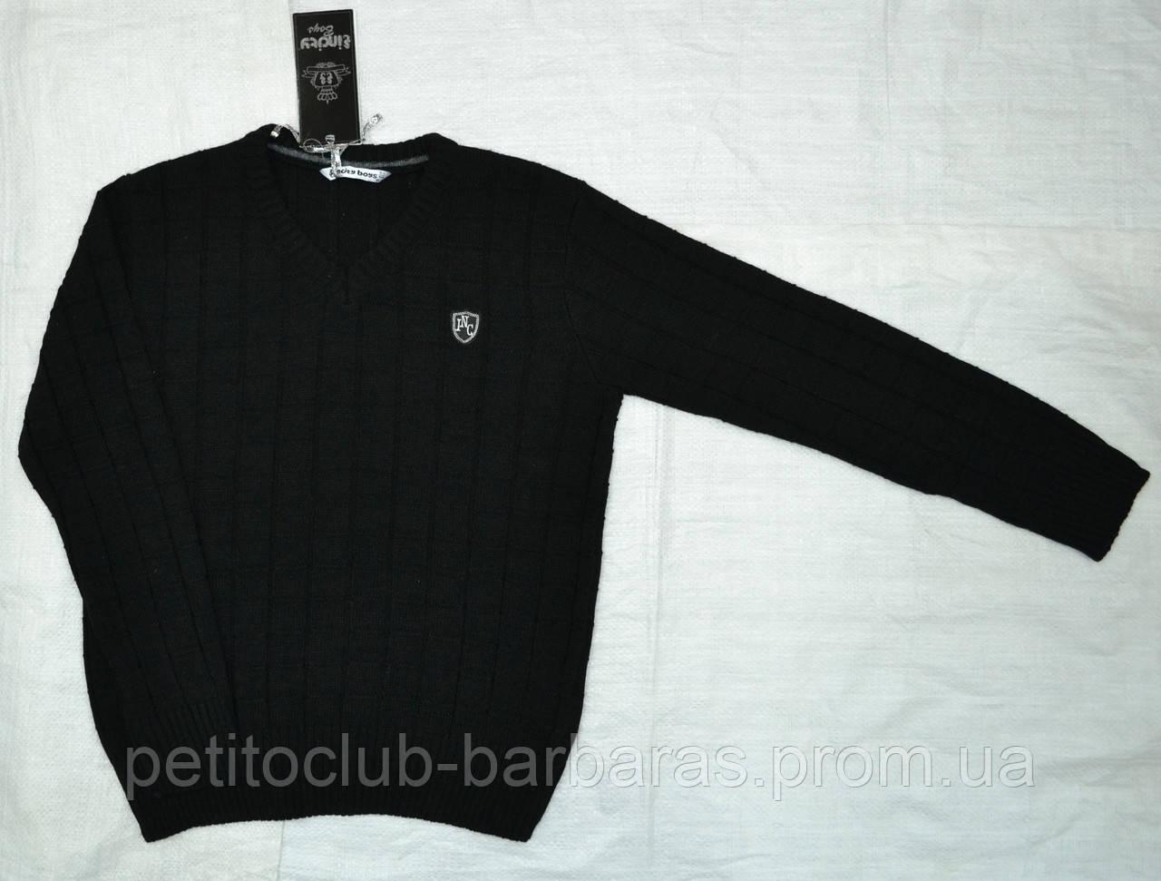 Теплый классический пуловер для мальчика однотонный черный (InCity, Турция)