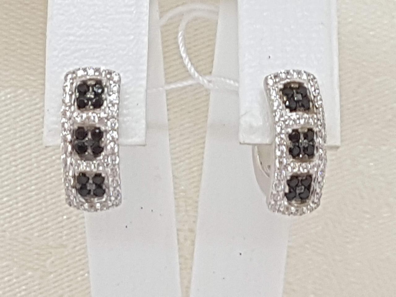 Серебряные серьги Флейм с фианитами. Артикул 2181/1Р-CZ