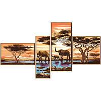 """Ткань со схемой для вышивки бисером """"Африканские слоны"""""""