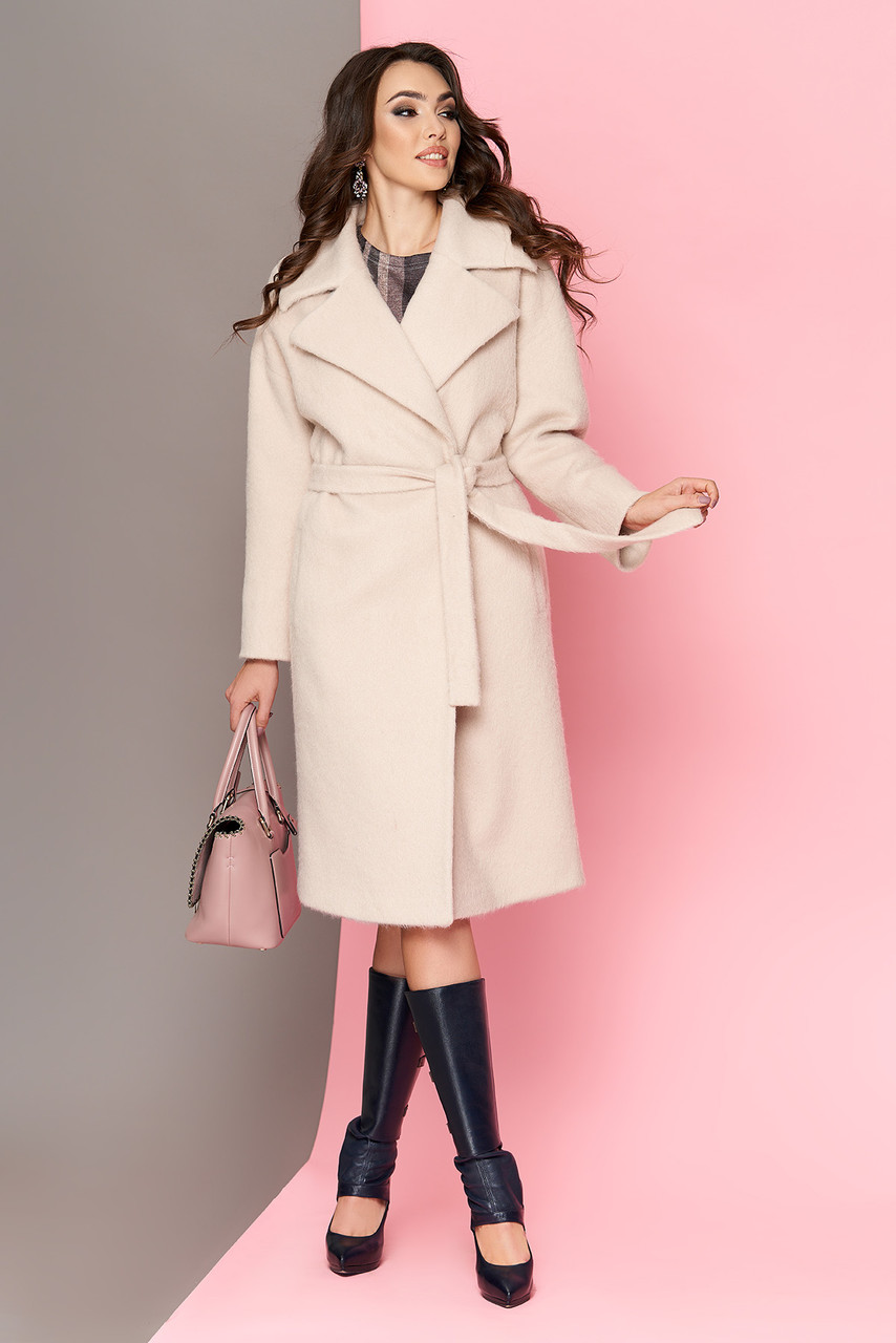 32b8073530b Женское шерстяное бежевое пальто на запах весеннее - Интернет-магазин  одежды ALLSTUFF в Киеве