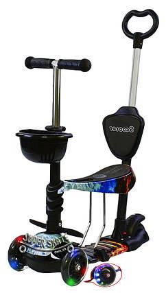 Трехколесный Детский Самокат-беговел 5в1 Scooter - Самокат с подсветкой - Огонь и Лед, фото 2