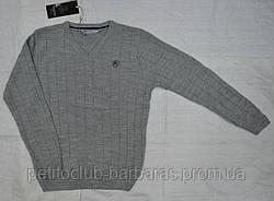 Теплий класичний пуловер для хлопчика однотонний світло-сірий (InCity, Туреччина)