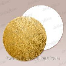 Подложки под торт круглые, односторонние B16 (золото-белый, d=16 см)
