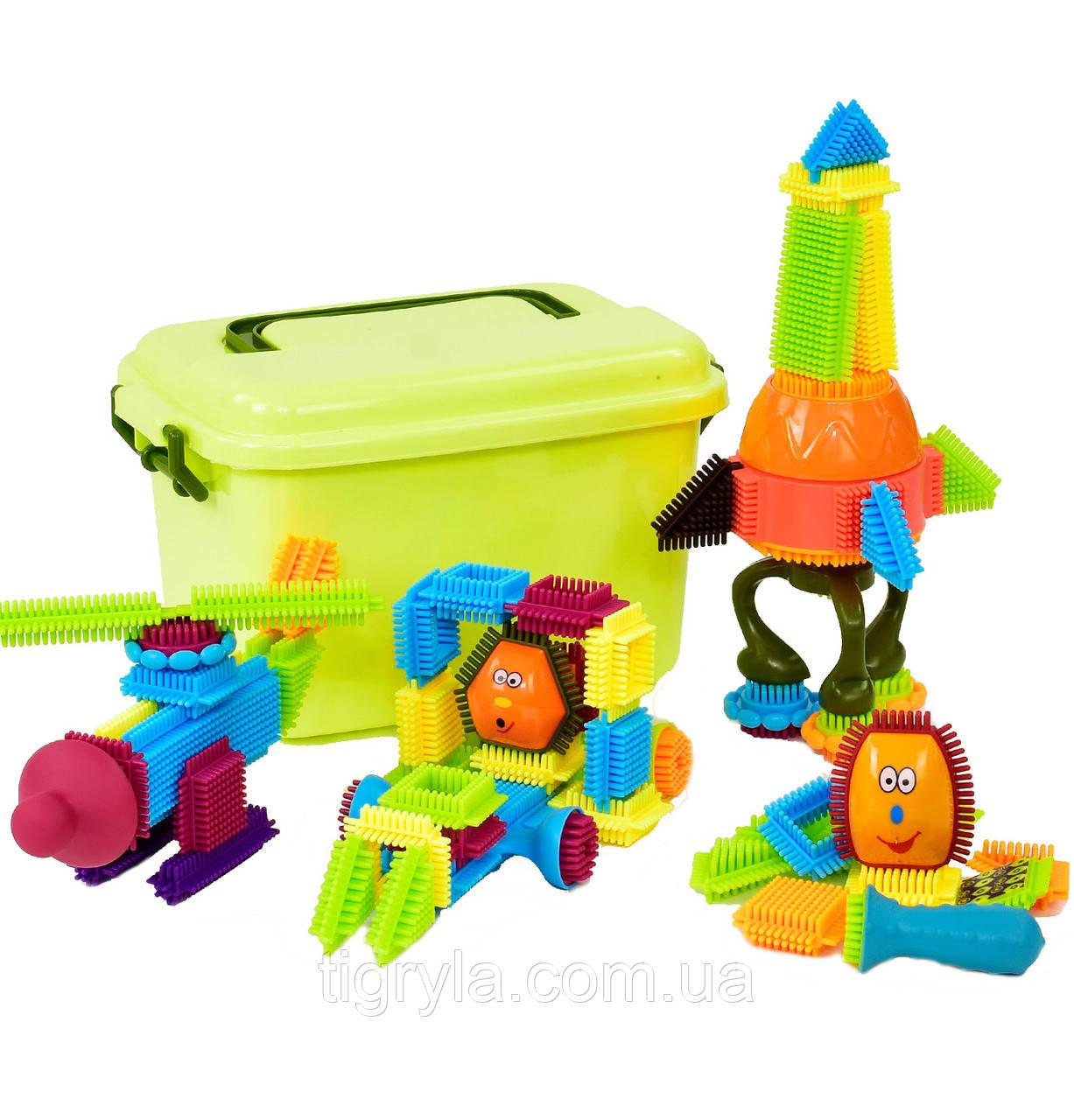 """Конструктор игольчатый в чемодане  """"Маленький Розумник"""" аналог Bristle Blocks, 60 деталей"""