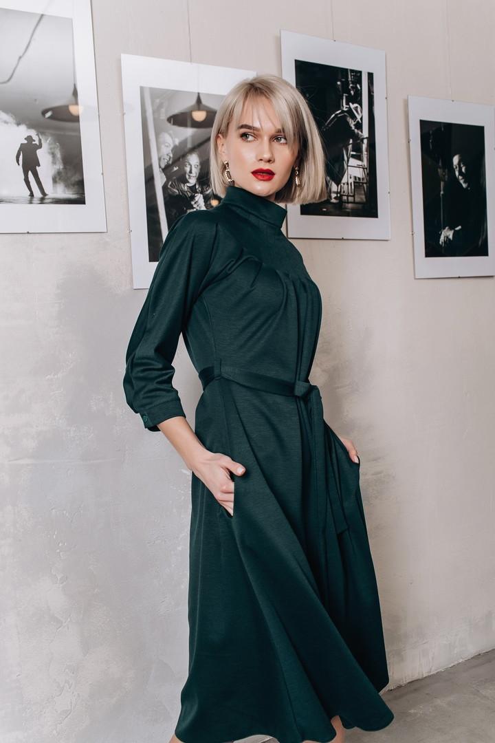 Трикотажное платье миди с карманами, в комплекте пояс / 3 цвета арт 8401-613