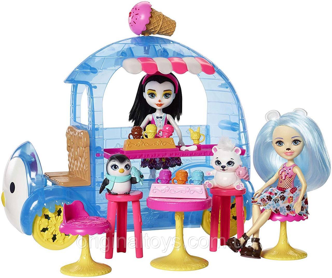 Набір Лялька Enchantimals Пріна Пінгвін і Білий ведмедик Фургон з холодними ласощами FRT96