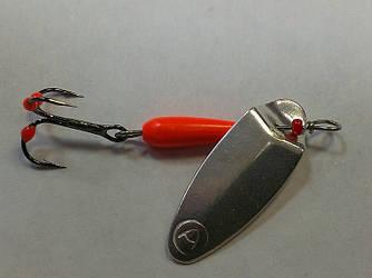Блесна вращающаяся AGAT MARIO #2 (fluo/red) 2,8 g  (лепесток покрыт 900 пробой серебра)