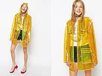 Прозрачный плащ-дождевик Modarina Прозрачный желтый ПВХ с желтым кантом Универсальный Женский  (AL3443)