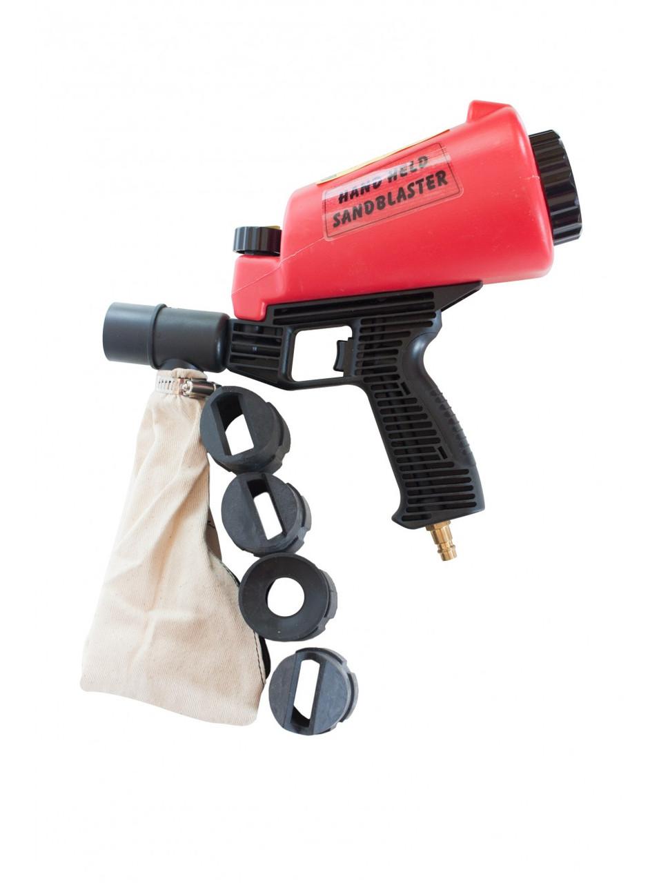 Пистолет пескоструйный пневматический Carmax (с мешком для сбора песка). В комплекте 4 насадки.