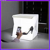 Лайт бокс для предметной макросъемки с 2x LED подсветкой мобильная фотостудия
