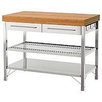 IKEA RIMFORSA (402.940.48) Рабочая Скамья стальная нержавеющая сталь, бамбук