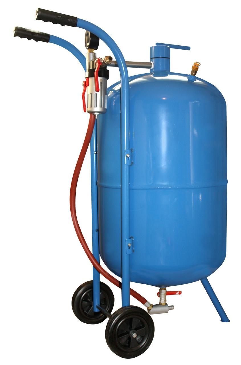 Пескоструйный аппарат Geko (76 литр). Напорного типа. Рабочее давление - не более9 бар. Вес 16кг.