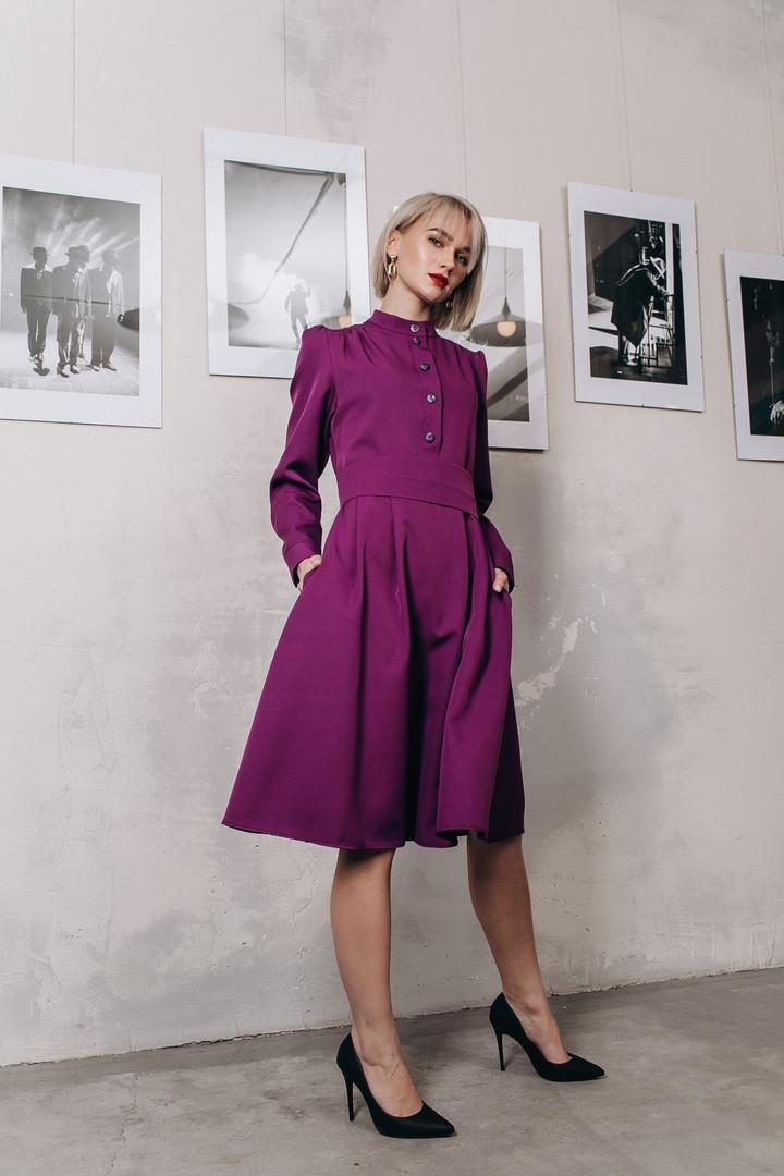 Платье миди с карманами, в комплекте пояс / 3 цвета арт 8403-613
