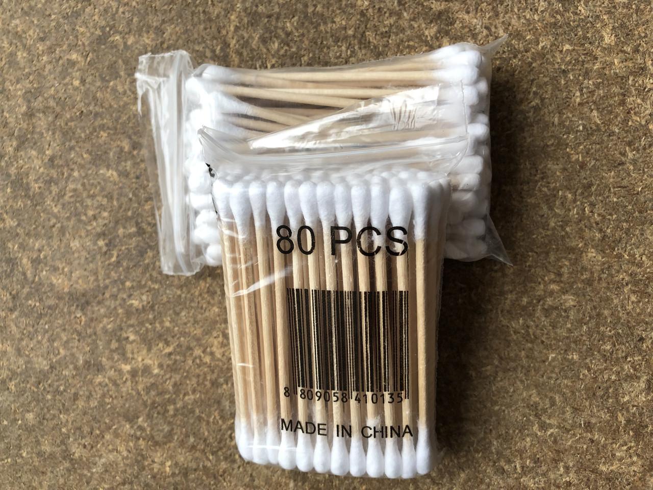 Ватные (ушные палочки) деревянные, 4 пачки/набор