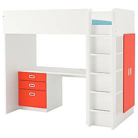 IKEA STUVA / FRITIDS (792.579.31) Кровать-чердак, белый, красный