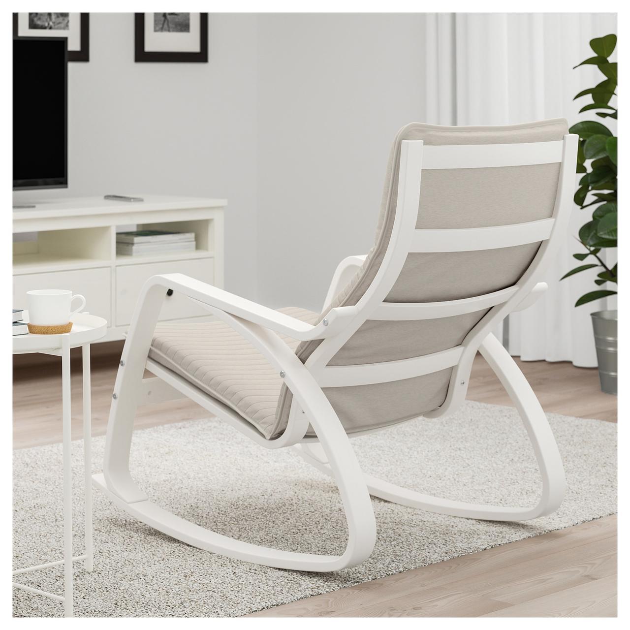 Ikea Poang 792 415 77 качающийся стул лиловый серый Bigl Ua