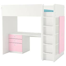 IKEA STUVA / FRITIDS (792.676.28) Кровать-чердак, белый,розовый