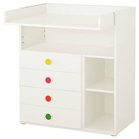 IKEA STUVA / FOLJA (391.808.30) Пеленальний стіл / 4 ящики, білий