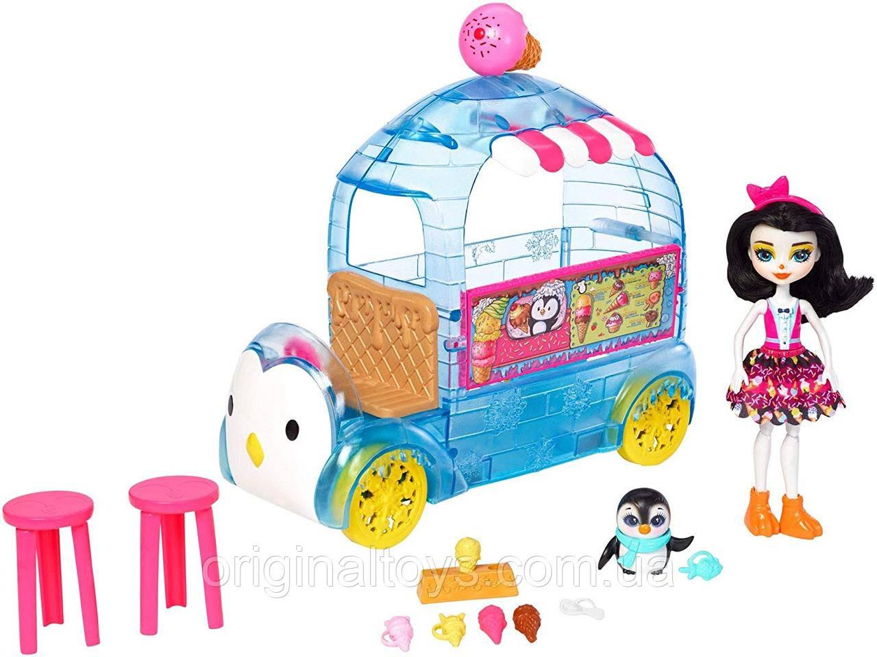 Набір Лялька Enchantimals Пріна Пінгвін Фургон з холодними ласощами Ice Cream Playset FKY58