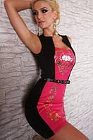 Женское модное черно - розовое платье с золотистым узором под пояс L2928-2