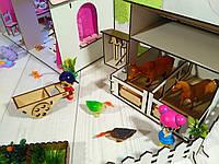 Домик для куколLOL LITTLE FUNс Фермой, обоями, шторками, мебелью, текстилем и лестницей