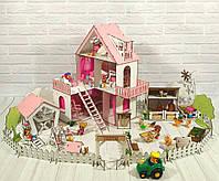 Домик для куколСолнечная Дача с Фермой, обоями, шторками, мебелью и текстилем
