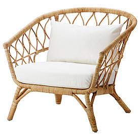 IKEA STOCKHOLM 2017 (992.071.29) Крісло з подушкою, ротанг, Ростанга білий