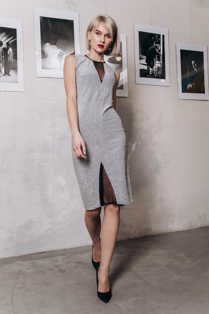 Платье с люрексом, отделка сетка / 3 цвета арт 8405-613