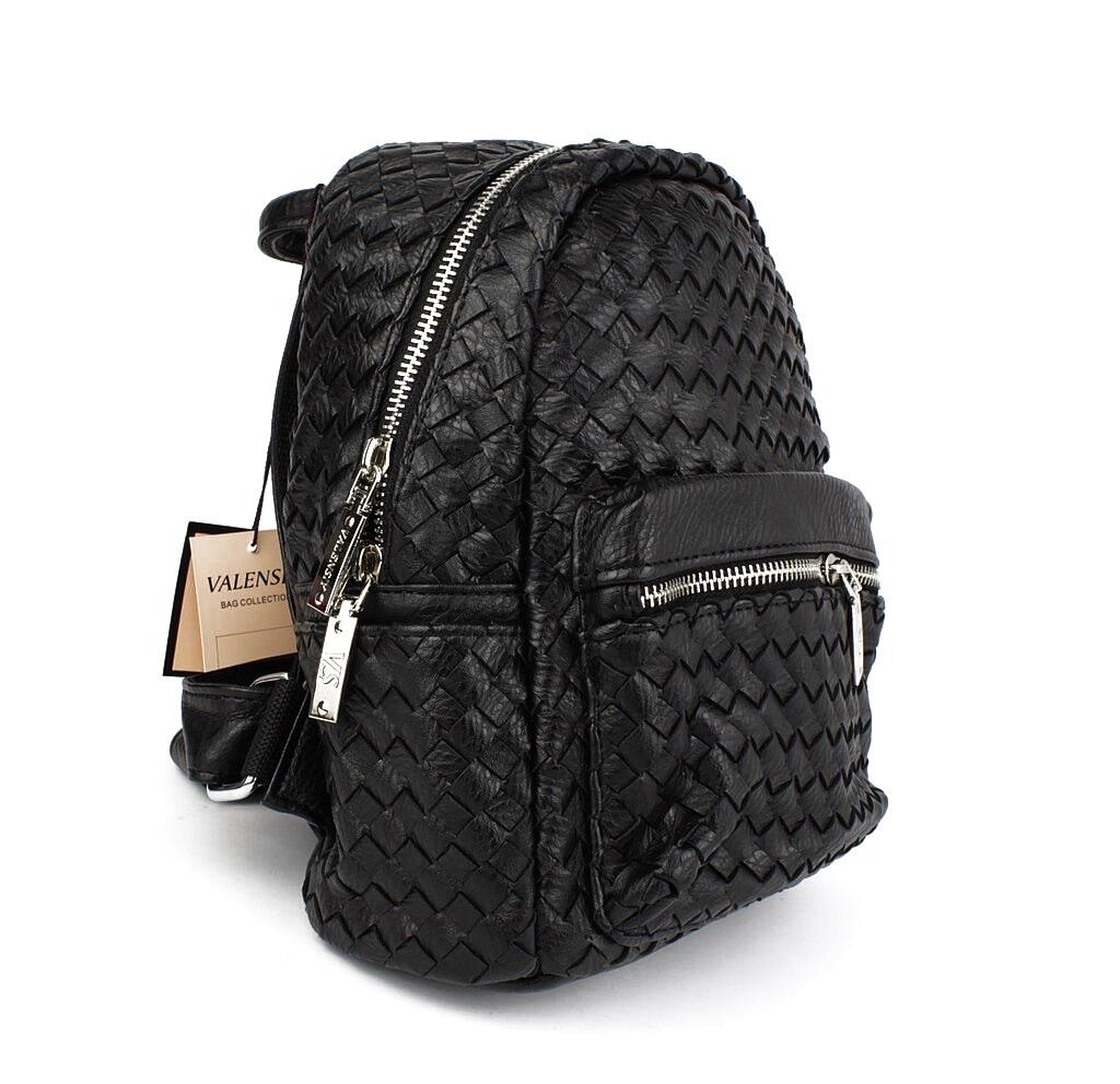 Рюкзак женский средний кожзам, черный Valensiy 648-401