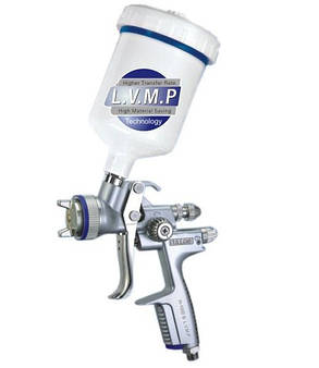 Краскопульт пневматический LVMP верх.пласт.бачок 600мл, форсунка-1,3мм Italco H-1001A-1.3LM, фото 2